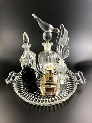 6-piece Lot Of Vintage Czech Perfume Bottles And Atomizer W/ Tray