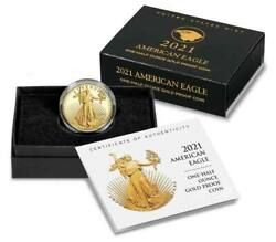 2021-w 25 1/2 American Eagle One-half Ounce Gold Proof Coin 21ecn Type 2