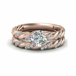 Round Cut 0.82 Ct Real Diamond Wedding Band Set 14k Solid Rose Gold Size L M N O