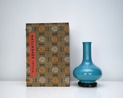 A Robbinand039s Egg Bottle Vase With Wooden Stand And Box