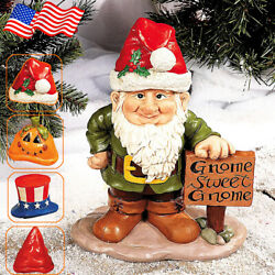 Resin Gnome Greeter Statue Garden Festival Outdoor Ornament With 4 Holiday Hats