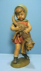 Vintage Anri Italy Carved Wood 10 Figurine Girl Holding A Cat