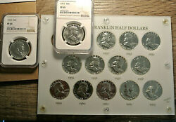 Complete Set 1950 To 1963 Of Franklin Half Dollar Proofs In Capitol Holder