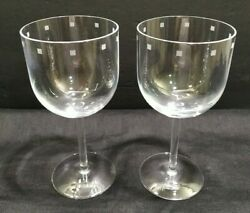 Lot 2 Modern Crystal Rim Etched Mini Squares Wine Water Glass Goblets Stems 10z