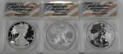2006-wwp 3 Coin 20th Anniversary Silver Eagle Set Anacs 70 70 70 Set Flag Labels