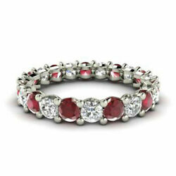 2.03 Ct Natural Diamond Ruby Eternity Band 14k Solid White Gold Rings Size M N