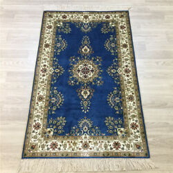 2.5'x4' Handknotted Silk Blue Rug Furniture Traditional Oriental Carpet Y160a