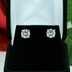 2.00 Ct Real Diamond Womenand039s Earrings Stud 14k Solid White Gold Stud