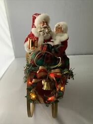 Dept 56 Possible Dreams Snuggled Up Together Santa And Mrs Claus In Sleigh Lights