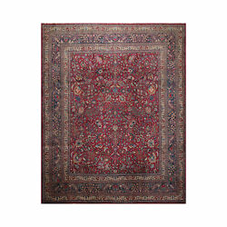 10'9''x12'10'' Antique Hand Knotted 100 Wool Traditional Oriental Area Rug Plum