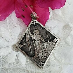 Antique Joan Of Arc Medal, French Religious Medals, The Maid Of Orleans, Heroine