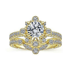 Solid 14k Yellow Gold 1 Carat Real Diamond Engagement Ring Set Size 5.5 6 7 8 9