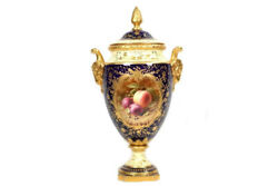 Antique Coalport Trophy Vase And Cover Frederick Chivers Fruit Group Circa 1906