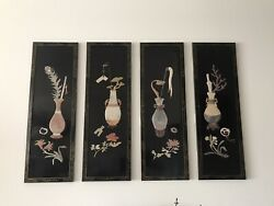 Vintage Chinese Antique Four Wood Display Panels