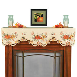 Embroidered Fall Pumpkins And Leaves Mantel Scarf, Living Room Decor