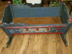 Antique Vtg Hand Painted Rocking Baby Cradle 18c. Victorian Blue And Red Floral