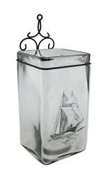 Scratch amp; Dent Sailboat On Glass Square Shaped Table or Wall Vase 16 Inch