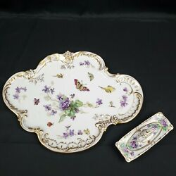Antique Dresden Heufel Hand Painted Butterfly Porcelain Vanity Tray And Powder Box