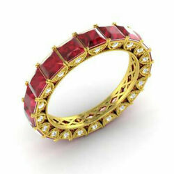 4.40 Ct Natural Diamond Ruby Eternity Band 14k Solid Yellow Gold Ring Size 5 6