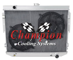 4 Row Western Champion Radiator W/ 2 12 Fans For 1974 Dodge Charger V8 Engine