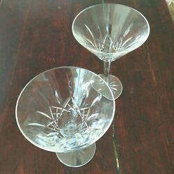 Waterford Lismore 2 Martini Glasses 6 Inches Tall