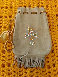 Vintage Native American Indian Beaded Leather Purse/tobacco/medicine Pouch