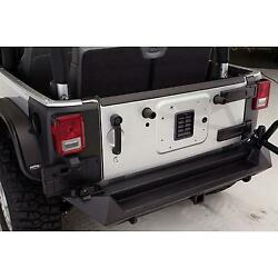Fab Fours Rear Base Bumper With D-ring And Cb Antenna Mount In Black Powder Coat