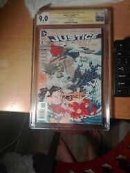 Justice League New 52 15 Autograph X5 9.0 Cgc Johns Prado Reis Tucci And Anderson