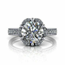 Real Diamond 950 Platinum Womenand039s Engagement Ring Round Cut 0.90 Ct Size 6 7 9
