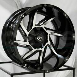 20x12 Black Machined Wheels Vision 422 Prowler 8x170 -51 Set Of 4 125.2 New