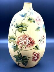 Ceramic Vase Painted Floral Bottle Vase Harmonia Pattern 13andrdquo Tall X 8andrdquo Wide