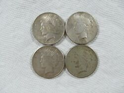 Lot Of 4 1923-1925 P And S Silver Peace Dollars In A F-xf Condition. Lot 15