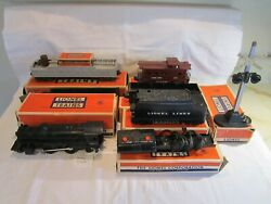 Vintage Post Wwii Lionel Train Lines Toy Freight Set Cars And Engine With Boxes