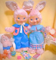 Rare Gand Vintage Rubber Face Bunny Rabbit Stuffed Doll Pair Pink Set