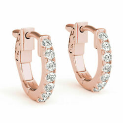 1.40 Carat Round Cut Real Diamond Engagement Earrings 14k Solid Rose Gold Studs
