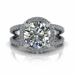 Real Diamond 950 Platinum Womenand039s Engagement Ring Round Cut 1.45 Ct Size 6 7 8.5