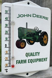 Vintage Style John Deere Farm Quality Equipment Porcelain Thermometer Sign