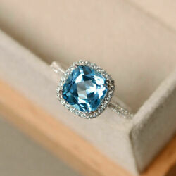 2.85 Ct Real Diamond Blue Topaz Wedding Band Solid 950 Platinum Ring Size 6 7 8
