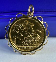Queen Victoria Gold Sovereign 22ct Set Into 9ct Gold Mount