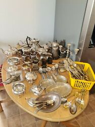 Joblot Of Antique And Vintage Silver Plate Items / Teapots/ Condiments/cutlery Vgc
