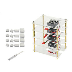 4 Layer Stackable Dog Bone Case Enclosure W/cooling Fans For Raspberry Pi 4b Sa
