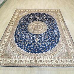 8and039x10and039 Handknotted Silk Blue Rug Living Room Medallion Indoor Carpet 1263