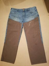 Cabela's Size 42w 30 Inseam Brush Guard Unlined Hunting Work Blue Jeans Spots
