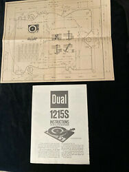Dual 1215s Turntable Original Vintage Instructions And Mounting Instructions