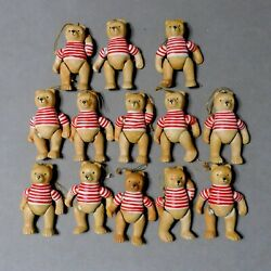 Anthropomorphic Christmas Ornament Bear Stripe Candy Cane Lot Of 13 Usa Seller