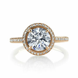 1.20 Ct Round Cut Natural Diamond Bridal Ring 14k Double Ton Gold Size 5 6 7 8.5
