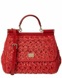Dolce And Gabbana Sicily Raffia And Leather Satchel Womenand039s