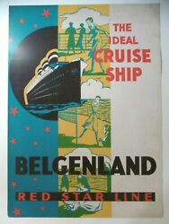 Affiche Red Star Line Reprint 50 X 70 Cm Liner Ideal Cruise Ship Belgenland