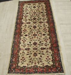Vintage Authentic Anatolian Floral Rug 3x6 Ft Hand Knotted Low Pile Wool Carpet
