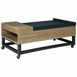 Benjara-lift Top Cocktail Table With Pull Out Tray, Brown And Black